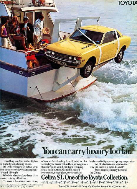 Celica on a boat.  Check out Charles Maund Toyota on Twitter at www.twitter.com/CMaundToyota