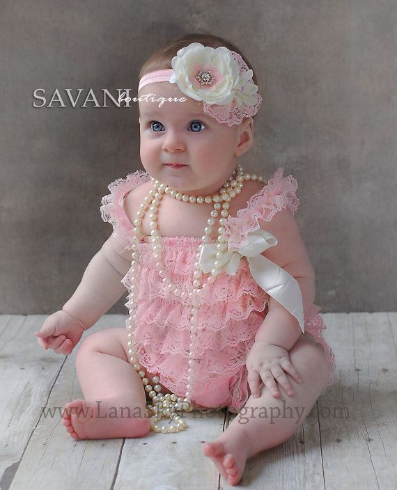 Baby lace outfit, 2 pieces Pink ivory lace romper set. Lace Petti Romper and  headband, Baby Girl Photo Props, baby girl lace outfit