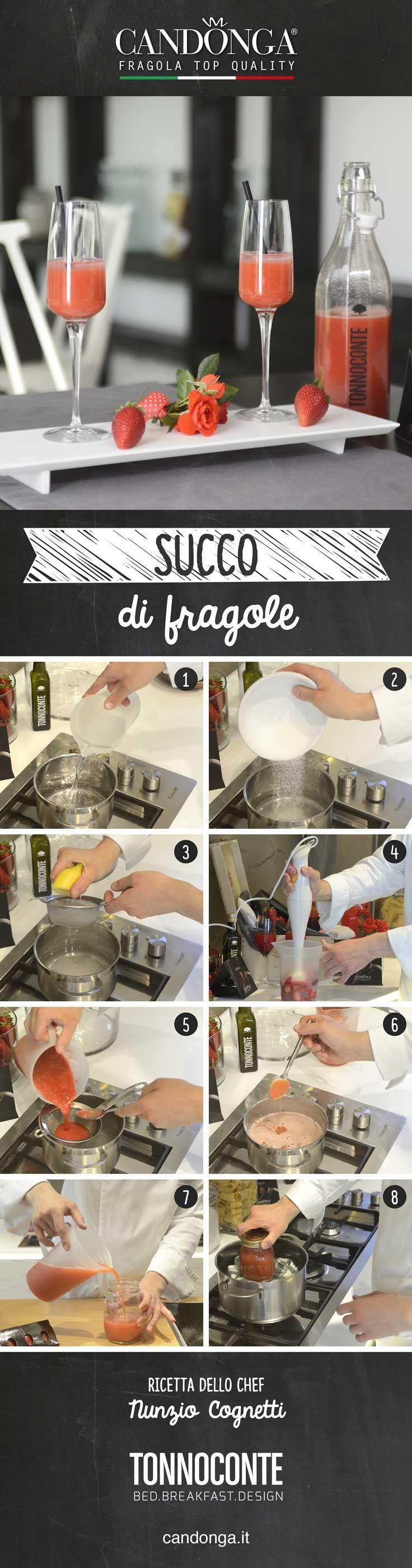 Ricetta del succo di frutta alle fragole dello chef Nunzio Cognetti (Tonnoconte). La bevanda analcolica perfetta per preparare drink golosi, nutrienti e dissetanti.  #candongatop #fragole #ricette #drink