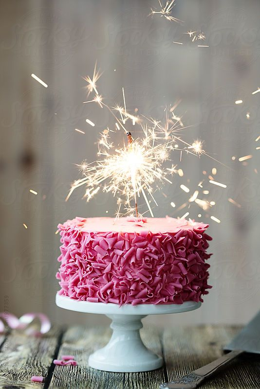 Pink Celebration Cake With Sparkler By Ruth Black