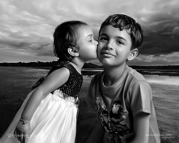 Digital portrait #painting of brother and sister. Store special moments of your #children in a lifetime memory through our exceptional digital painting services.