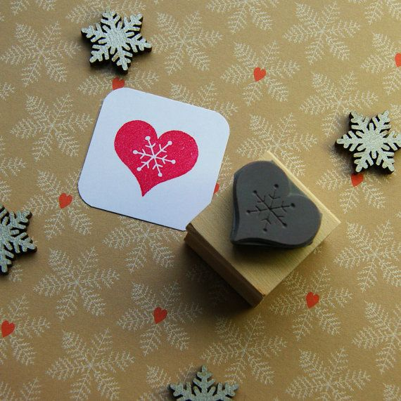 Christmas Stamp  Snowflake Heart Rubber Stamp by Skull and Cross Buns