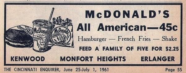 Vintage McDonald's advertisement, 'All American for 45c only!'