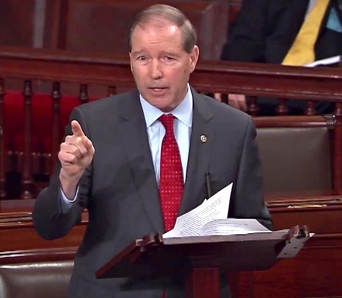Sen. Tom Udall reads a letter from Coretta Scott King opposing Jeff Sessions on the floor of the Senate. C-SPAN