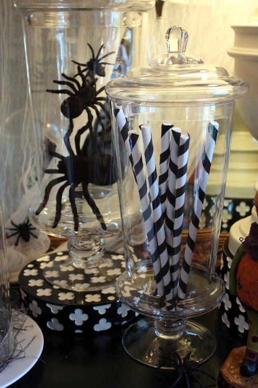 halloweenHalloween Parties, Halloween Decor, Halloween Costumes, Halloween Candies, Black White, Fun Halloween, Diy Decor, Apothecaries Jars, Halloween Diy