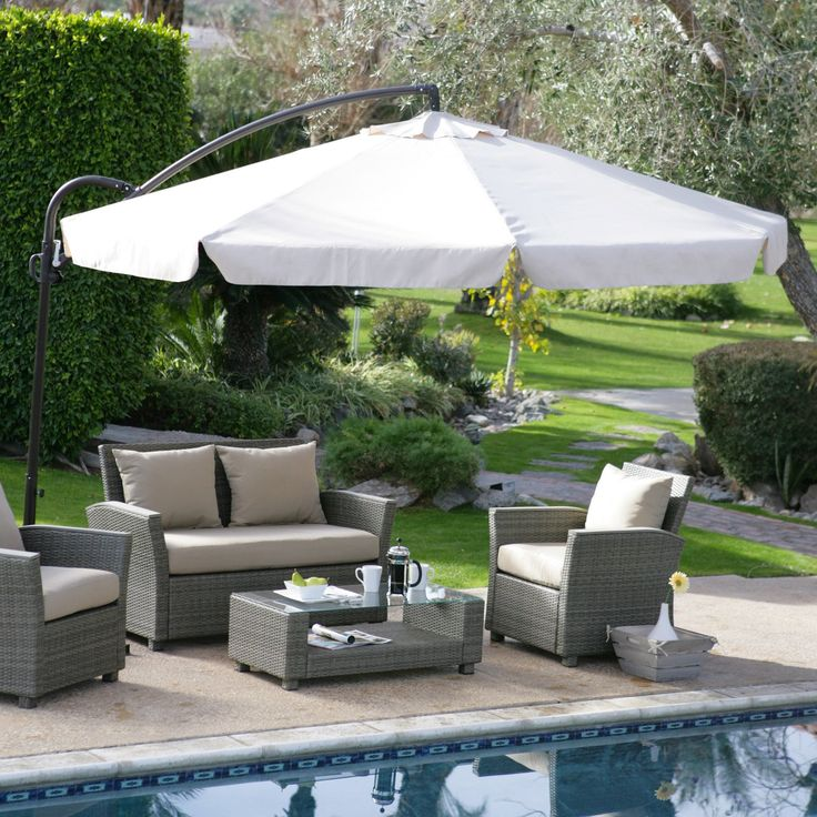 Have to have it. Coral Coast 11 ft. Offset Umbrella with Detachable Netting $199.99  #hayneedlehome