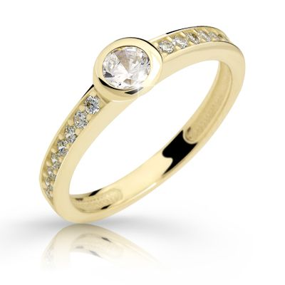gold engagement ring with a round brilliant diamond (fashion design: Danfil Diamonds)