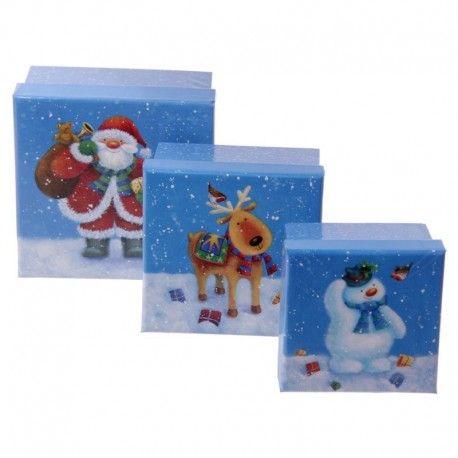 Lot de 3 boîtes cadeaux en carton - Noël