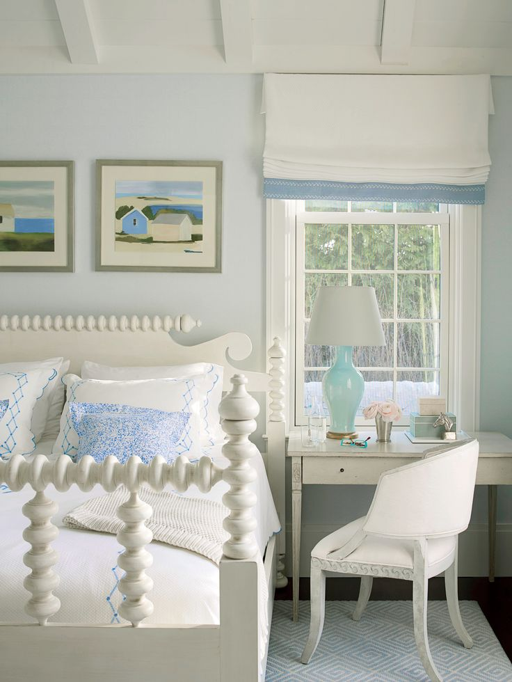 This Hamptons bedroom is as peaceful as it gets, with its relaxing blue-and-white palette and classic furnishings. The four poster spindle bed is timeless and low maintenance, says designer Phoebe Howard.