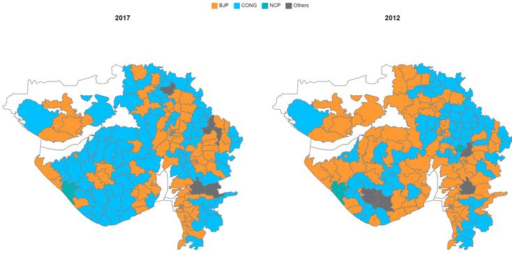 Gujarat Assembly Electoral Map 2012 and 2017