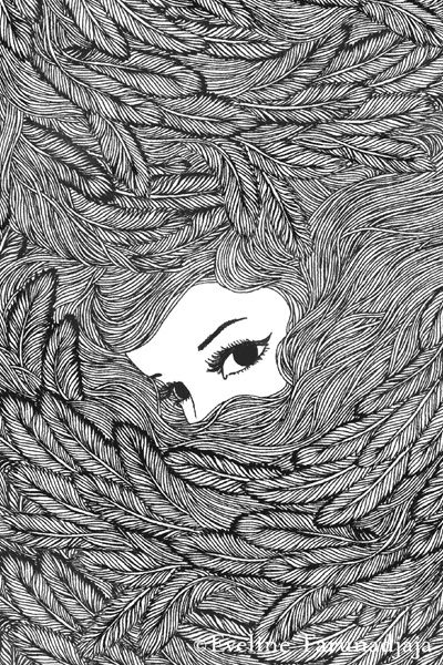 Feathers Black © Eveline Tarunadjaja---she keeps dreaming of getting attacked by raven's, of being buried in their feathers and she panics as she disappears underneath--but once she accept her love, she realized they aren't attacking, they're protecting her. and when she stands up tall, they've given her wings.