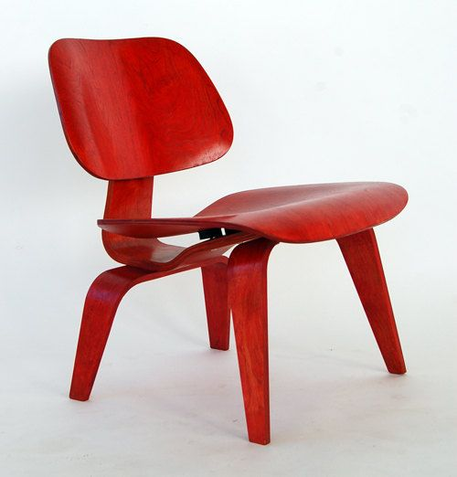 Vintage Eames For Herman Miller Red Aniline LCW Molded Plyood Lounge Chair