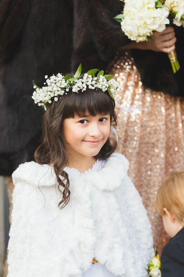 Winter wedding flower girl