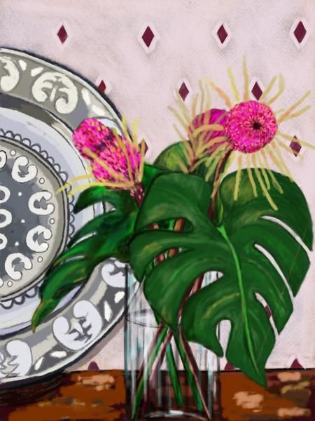 Drawn by Megan Bree - Purchase pink proteas with Monsteria leaves (A4) print – Sole Service