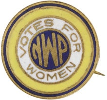 Alice Paul's National Woman's Party pin in the organization's colors of purple, yellow, and white.