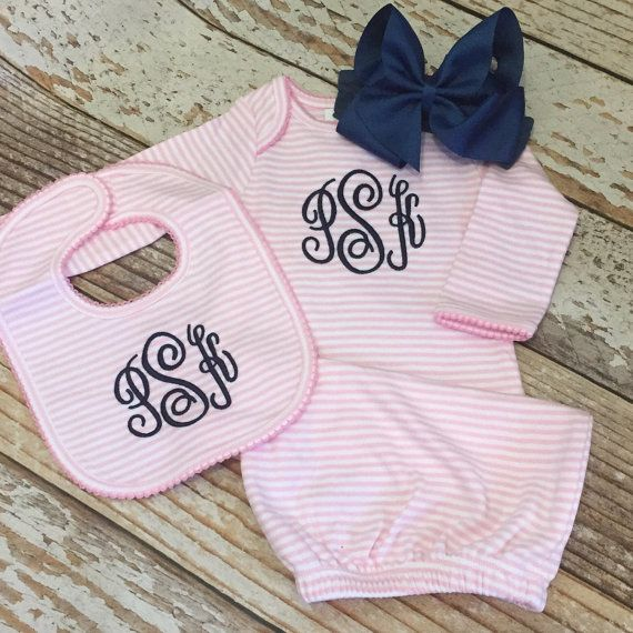 46 best girls dress for success images on pinterest baby photos coming home outfit baby boy baby girl newborn pictures monogrammed gown personalized baby shower gift newborn pictures outfit negle Images