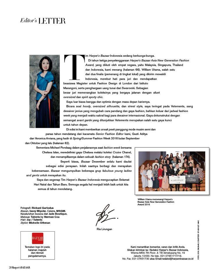 styling for Editor's Letter - Harper's Bazaar December 2016