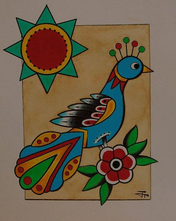 Dutch Bird 8x10 original folk art german by BlueBirdFolkArt