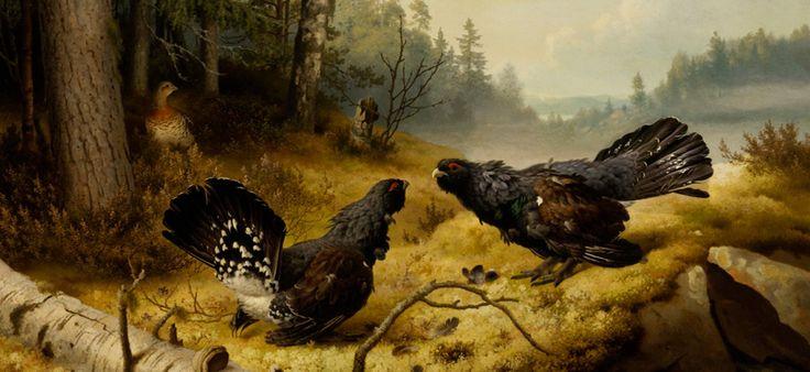 Ferdinand von Wright: Taistelevat metsot, 1886,