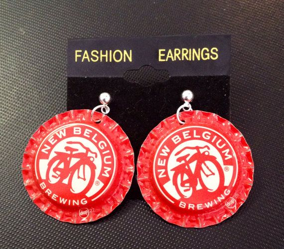 Fat Tire New Belgium brewing Beer Cap Bottle Cap Earring Jewelry Earing on Etsy, $5.95
