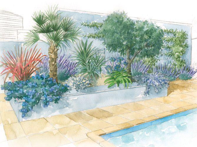 Décor méditerranéen autour de la piscine
