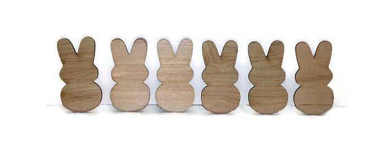 Easter Peeps wood peeps set of 6 unfinished wood peeps diy