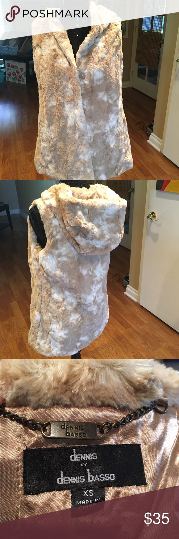Dennis Basso Faux Fur Dennis Basso Faux Fur hooded vest. Sooooooo soft and comfy! There are pockets and a snap front closure. NWOT. Dennis Basso Jackets & Coats Vests
