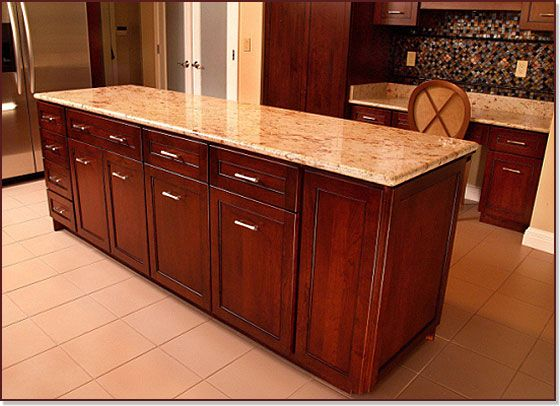 Contemporary Cherry Custom Kitchen Island With Shaker Doors And Granite  Counters In Bowie, MD   Kitchen Saver