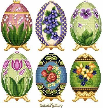 Faberge Eggs - X Squared Cross Stitch - I'll probably never own a real Faberge Egg - aren't these gorgeous?