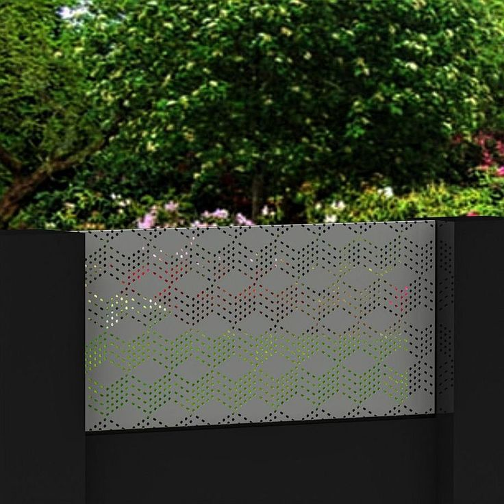 3D Blox 4mm Aluminium Perforated metal Width 2200 mm x Height 1020mm fixed onto a rendered fence.