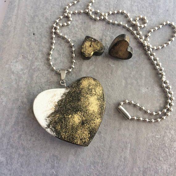Heart earrings  pendant  Original love gift for her