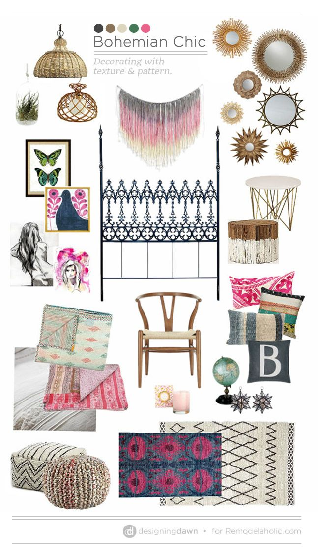 Bohemian Chic / Designing Dawn -- Decorating with texture and pattern on Remodelaholic.com #moodboard #homedecor #teengirl