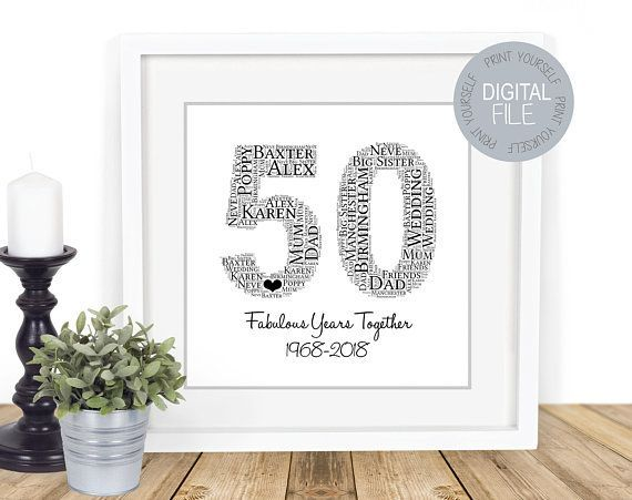 50th Anniversary Gift Golden Wedding Anniversary Personalised
