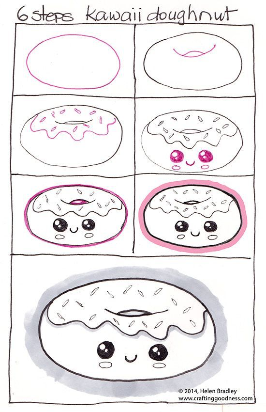 How to draw a Kawaii donut or should that be Learn to draw a doughnut, step by step?: