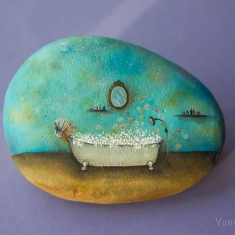 #oil #painting #stones #paintedstones #handpainted #handmade #rock #paintedrocks…