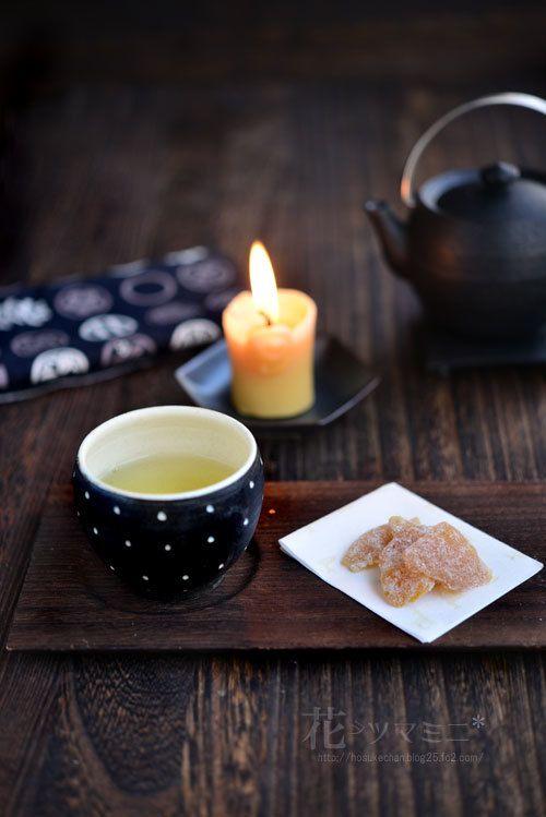 柚子甘納糖のお茶時間 - citrus Yuzu sweets and green tea.