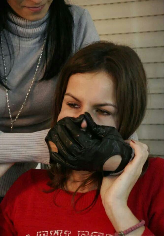 black leather glove fetish