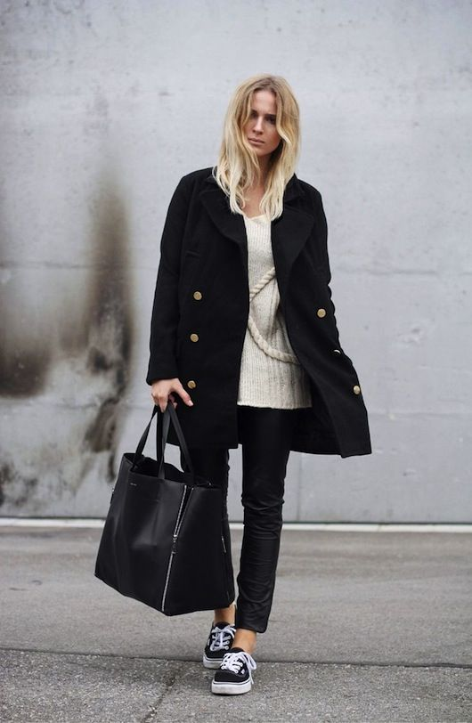 Coat, sneakers, large tote.