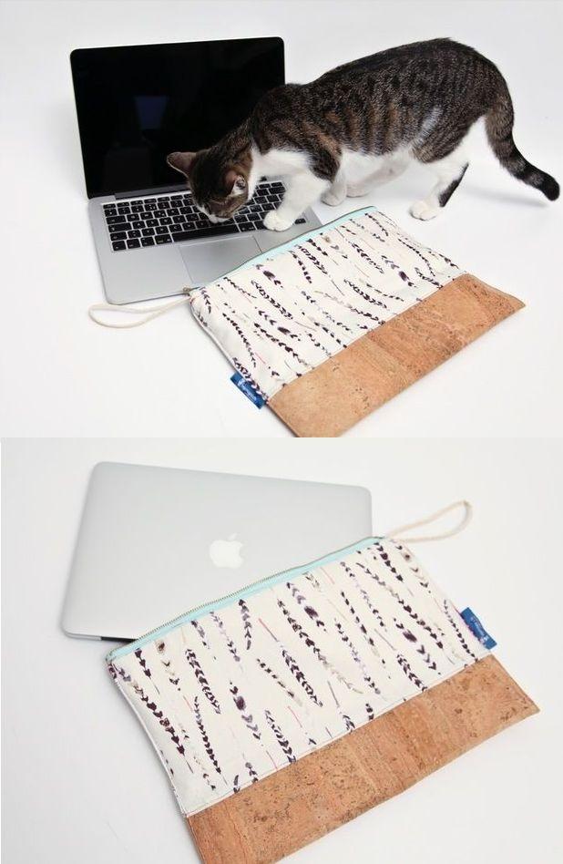 Stylishes Laptopcase mit Korkstoff – Idee in der W…
