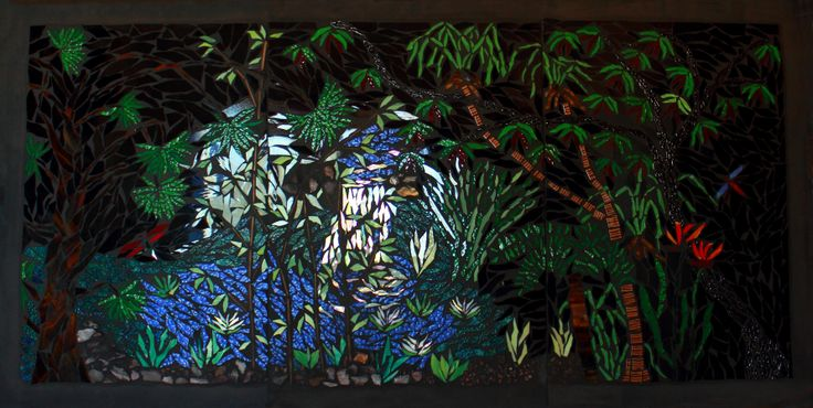 The rainforest - glass mosaic on ply
