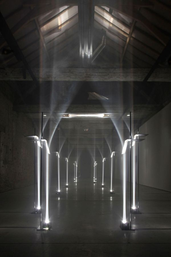 TROIKA - MAKING ARCHITECTURE OUT OF LIGHT. This site specific installation by the London based design studio, Troika was on exhibit in Kortrijk, Belgium for the international biennial - Interieur 2012.