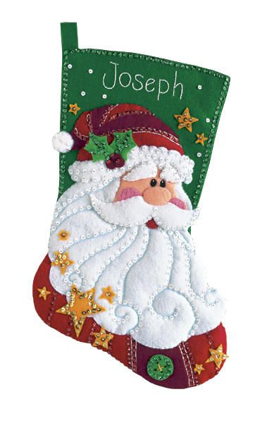 Sequined Santa Stocking Felt Applique Kit-18 Long