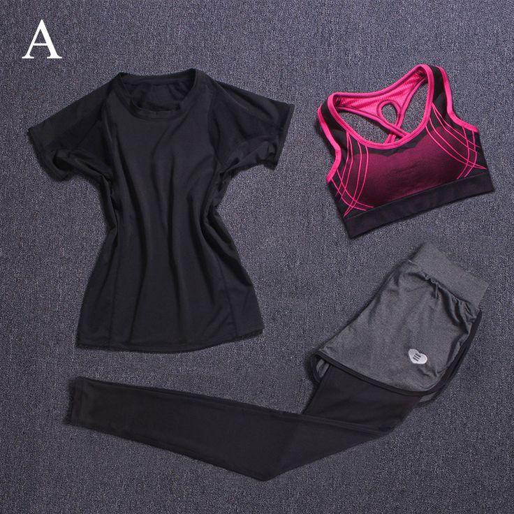 Fitness Women Yoga Sets Sport Pants Yoga Leggings Tights Capri Running Gym Bra+Breathable Pants+Tshirt Elastic 3Pcs/Set Clothes