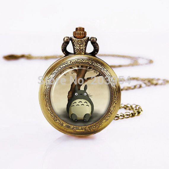 Латунь карманные часы 12 шт./лот мой сосед тоторо, Старинные часы ювелирных изделий, 1  ожерелье, С аккумулятор стимпанк античная