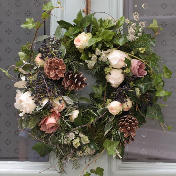 Attractive Beautiful Wreath By The Real Flower Company Christmas Scented Woodland Door  Wreath