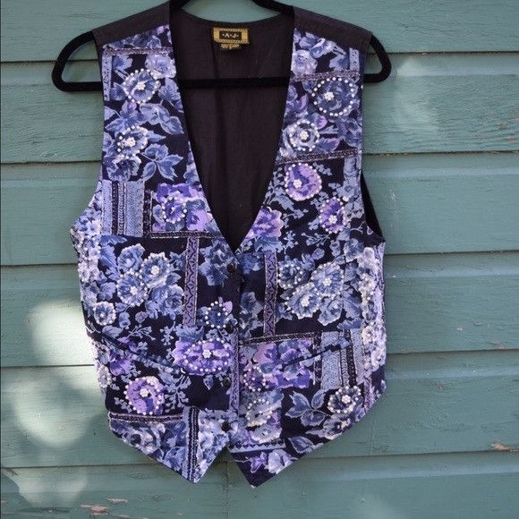 Vintage 1980s AJ Blue Floral Vest featuring Hand Beaded Detailing & Adjustable Strap Womens Size Small