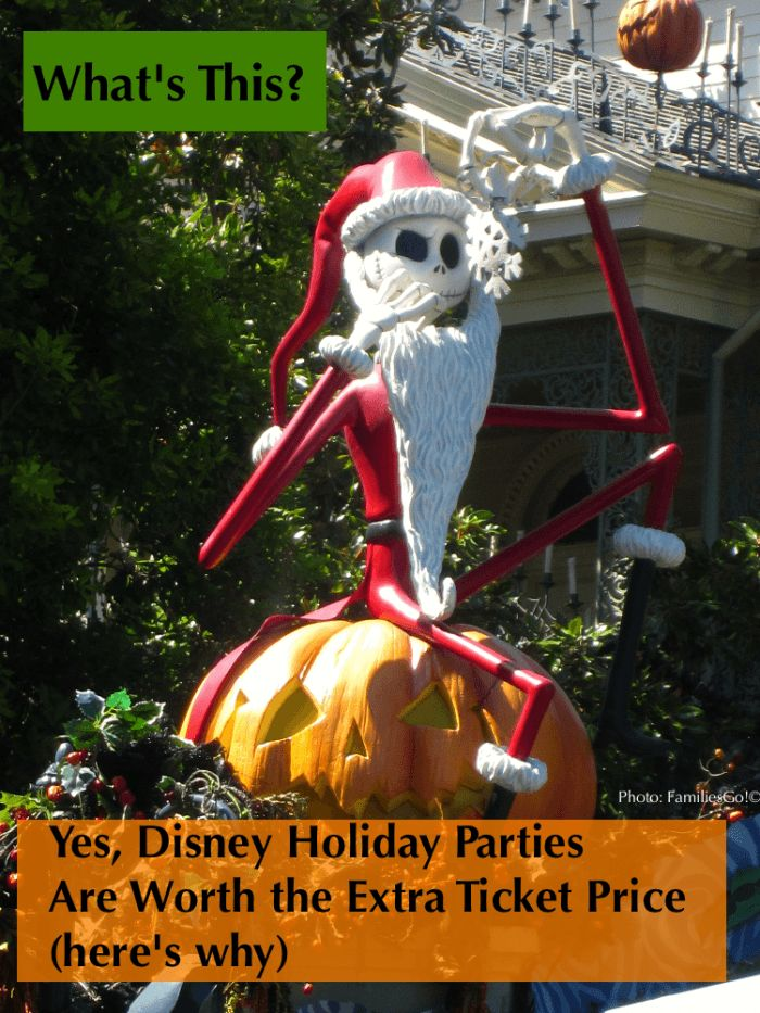 "The Halloween and Christmas parties at Disney Parks are a add-on to a regular ticket, but they offer enough perks and extra ""wow"" moments for families to make them worth the price. Book well in advance! disney halloween, mickey's halloween party, halloween at Disney, disneyland halloween, Disney World Halloween, disney Christmas, Mickey's christmas party, Disneyland Christmas, Disney World Christmas"