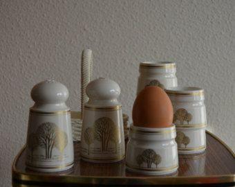 Ontbijtset van Emsa met peper en zout vaatjes en 6 eierdopjes