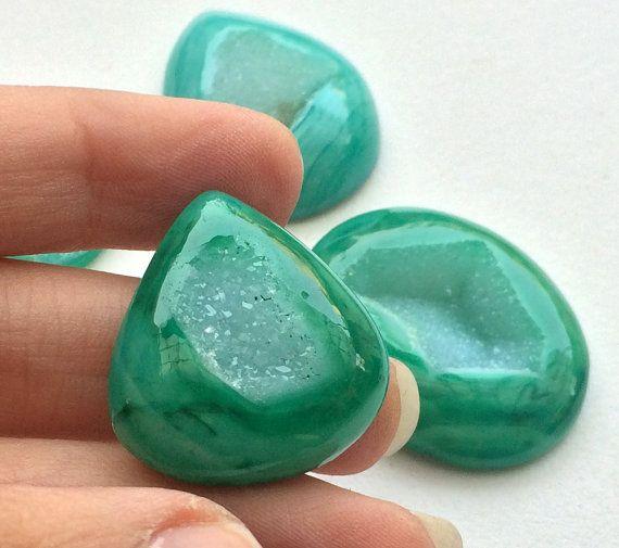 WHOLESALE 4 Pcs Green Window Druzy Emerald Green by gemsforjewels
