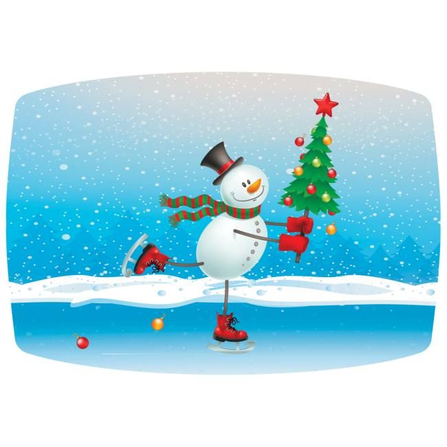 Seasonal Occasions Skating Snowman Paper Placemats Hosting Christmas Party Classroom Christmas Decorations Dyi Christmas Decorations